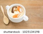 homemade style steamed egg with ...   Shutterstock . vector #1025134198