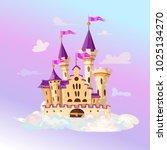 fairytale cartoon castle. cute... | Shutterstock .eps vector #1025134270