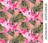 summer pink pattern with exotic ... | Shutterstock .eps vector #1025136610