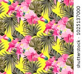 summer yellow pattern with... | Shutterstock .eps vector #1025137000