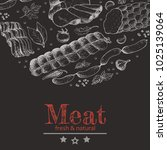 vector background with meat... | Shutterstock .eps vector #1025139064