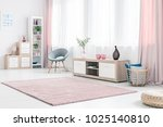 grey armchair next to a wooden... | Shutterstock . vector #1025140810