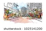 downtown road view with... | Shutterstock .eps vector #1025141200