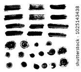 set of vector black paint brush ... | Shutterstock .eps vector #1025143438