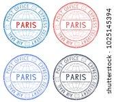 colored postmarks paris.... | Shutterstock . vector #1025145394