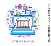 concept of internet banking.... | Shutterstock .eps vector #1025146144