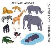 african animals  lion  hyena ... | Shutterstock .eps vector #1025151940