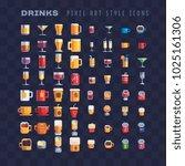 drinks and beverages pixel art... | Shutterstock .eps vector #1025161306