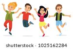 happy school multiracial... | Shutterstock .eps vector #1025162284