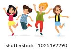 happy school multiracial... | Shutterstock .eps vector #1025162290