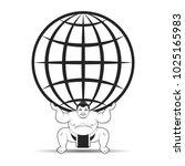 black and white sumo wrestler... | Shutterstock .eps vector #1025165983
