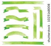 vector watercolor green ribbons ...   Shutterstock .eps vector #1025168008