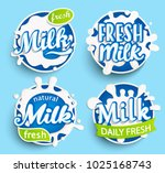 set of different fresh milk... | Shutterstock .eps vector #1025168743
