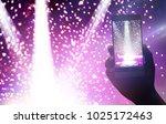 hand holding smartphone records ... | Shutterstock . vector #1025172463