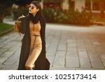 stylish girl walking through...   Shutterstock . vector #1025173414