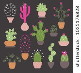 plants in pots | Shutterstock .eps vector #1025176828