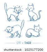 cute cartoon male cat in... | Shutterstock .eps vector #1025177200