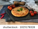 omelet with ham tomato and... | Shutterstock . vector #1025178328