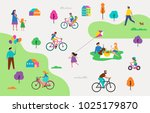 summer outdoor scene with... | Shutterstock .eps vector #1025179870