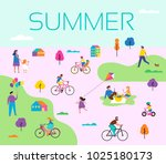 summer outdoor scene with... | Shutterstock .eps vector #1025180173