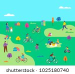 summer outdoor scene with... | Shutterstock .eps vector #1025180740