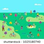 summer outdoor scene with... | Shutterstock .eps vector #1025180740