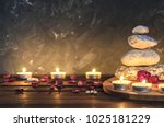 spa composition stones  candles ... | Shutterstock . vector #1025181229