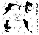 set of beautiful mermaid... | Shutterstock .eps vector #1025192440