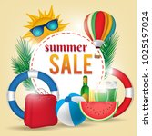 summer sale background layout... | Shutterstock .eps vector #1025197024