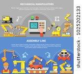 two horizontal robotic arm... | Shutterstock .eps vector #1025202133