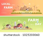 local farm   set of modern flat ... | Shutterstock .eps vector #1025203060