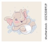cute little newborn baby... | Shutterstock .eps vector #1025208919