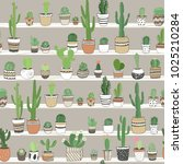 hand drawn different cactuses...   Shutterstock .eps vector #1025210284