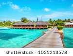 wooden pier and exotic bungalow ... | Shutterstock . vector #1025213578