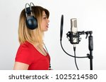 voice acting woman performing a ...   Shutterstock . vector #1025214580