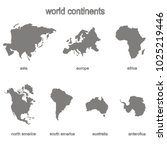 Set of monochrome icons with world continents for your design