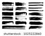 set of grunge ink brush strokes ... | Shutterstock .eps vector #1025222860