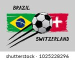 flags of brazil and switzerland ... | Shutterstock .eps vector #1025228296