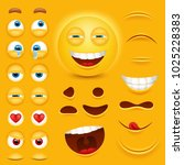 cartoon yellow 3d smiley face... | Shutterstock .eps vector #1025228383
