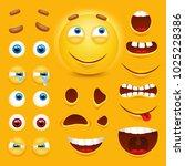 cartoon yellow 3d smiley face... | Shutterstock .eps vector #1025228386