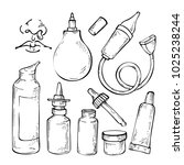 hand drawn sketch set medicines ... | Shutterstock . vector #1025238244