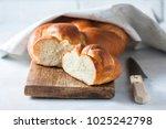 homemade challah bread ... | Shutterstock . vector #1025242798
