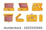 suitcase with stickers of flags ... | Shutterstock .eps vector #1025243560