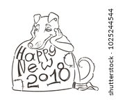 yellow dog for new year 2018 ... | Shutterstock . vector #1025244544