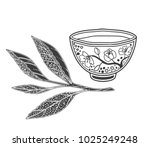 japanese tea ceremony  tea leaf ... | Shutterstock .eps vector #1025249248