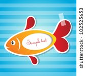 vector fish sticker with tape   Shutterstock .eps vector #102525653