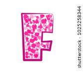 english pink letter f on a... | Shutterstock .eps vector #1025258344