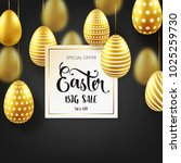 easter golden egg with... | Shutterstock .eps vector #1025259730