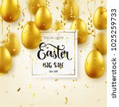 easter golden egg with... | Shutterstock .eps vector #1025259733