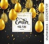 easter golden egg with... | Shutterstock .eps vector #1025259739